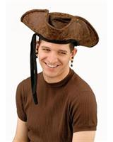 Brown Distressed Adult Pirate Hat with Beads