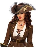 Brown Tricorn Pirate Adult Hat