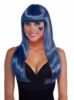 Neon Blue Long Adult Wig