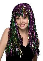Long Multi Colored Mardi Gras Tinsel Wig