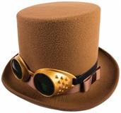 Steampunk Hat w/Goggles-Brown