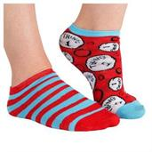 Dr Seuss Adult Mismatched Thing 1 & Thing 2 No-show Socks