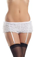 White Ruffle Shorts With White Garter Straps