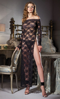 1 Piece Boatneck, full length, lace dress with high slit