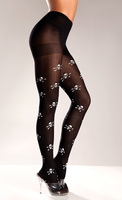 Black Nylon Skull And Crossbones Pantyhose