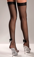 Fishnet Back Seam Thigh Highs With Satin Bow