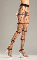 Spandex Sheer Pantyhose With Faux Chains
