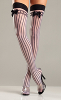 Spandex Sheer Stockings With Stripes And Satin Bows