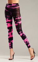 Neon Pink Tie Dye Footless Tights