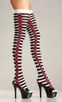 Opaque Striped Thigh Highs with Suits on Side