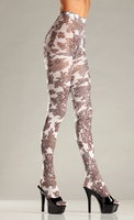 Opaque Floral Print Tights