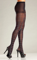 Plaid Pantyhose with Red Accent