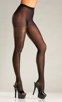 Opaque Black and Gold Lurex Tights