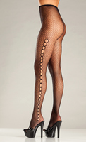Seamless spandex fishnet and keyhole pantyhose