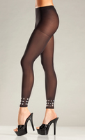 Opaque Footless Tights with  Studded Cuffs