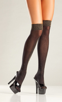 Opaque Black and Gold Lurex Knee Highs