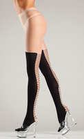 Sheer tights with mock lace-up backseam