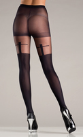 Sheer black pantyhose with shadow cross design.