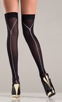 Opaque black thigh highs with zipper design back.