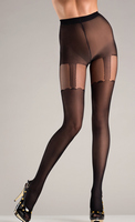 Opaque black pantyhose with suspender designs.