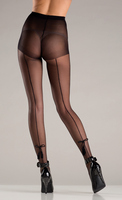 Spandex sheer back seam pantyhose with tassel bow design.