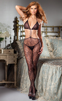 Lace cutout bodystocking with halter top and ties at back