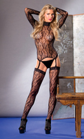 3 piece Long sleeve floral lace turtleneck top with garter clips.  Floral thigh high and matching thong included.
