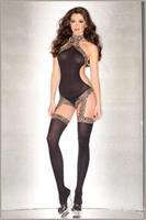Sheer halter suspender bodystocking with leopard print lace details