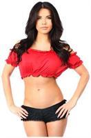 Red Short Sleeve Peasant Top
