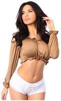 Tan Long Sleeve Peasant Top