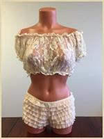 Cream Sheer Lace Short Sleeve Peasant Top