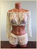 Cream Sheer Lace Long Sleeve Peasant Top