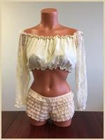 Cream Lined Lace Long Sleeve Peasant Top