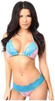 Baby Pink Sequin Pucker Back Bikini w/Turquoise Lace