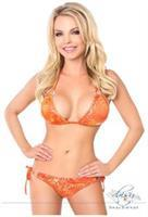 Orange Hologram Rhinestone Pucker Back Bikini