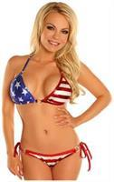 Patriotic Stars and Stripes Pucker Back Bikini