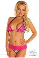 Zebra Pucker Back Bikini with Pink Lace Trim