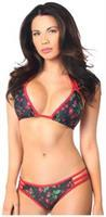 Pin Up Cherry Print Pucker Back Strappy Bikini
