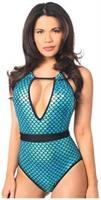 Teal Mermaid One-Piece Pucker Back Swimsuit w/Removable Belt