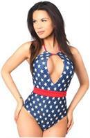 Patriotic Stars One-Piece Pucker Back Swimsuit w/Removable Belt