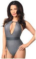 Gray Glitter Striped One-Piece Pucker Back Swimsuit w/Removable Belt
