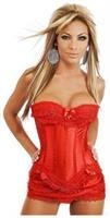 Red Burlesque Corset and Skirt Set
