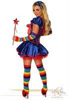 6 PC Sexy Rainbow Girl Costume