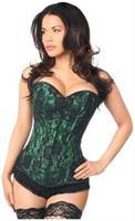 Lavish Green Lace Front Zipper Corset