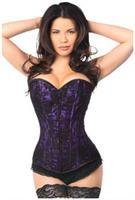 Lavish Purple Lace Front Zipper Corset