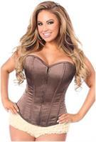 Lavish Brown Sweetheart Front Zipper Corset