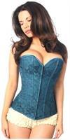 Lavish Dark Teal Lace Overbust Corset w/Zipper