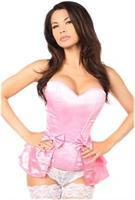 Lavish Pink Satin Corset w/Removable Snap on Skirt