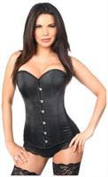 Lavish Black Satin Overbust Corset w/Busk Closure