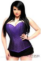 Lavish Purple Glitter Side Zipper Corset